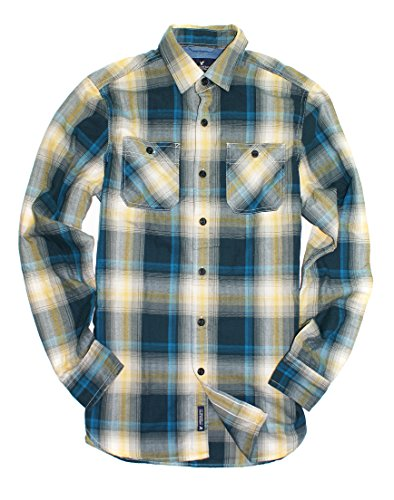 American Eagle Men's Seriously Soft Plaid Workwear Shirt 9471 (X-Small, Teal)