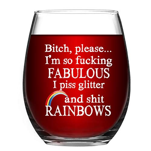Funny Wine Glass Please I'm So Fabulous I Pee Glitter and Rainbows Stemless Wine Glass 15Oz, Funny Gift for Women Friends Sister BFF