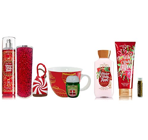 WINTER CANDY APPLE Bath & Body Works Ultimate Set of Mist, Sleeve, Lotion & Cream, WRAP QUEEN PocketBac with Holder, & STARBUCKS Mug with a Jarosa Organic Chocolate Bliss Lip Balm by Jarosa Gifts Apple Scented Body Lotion
