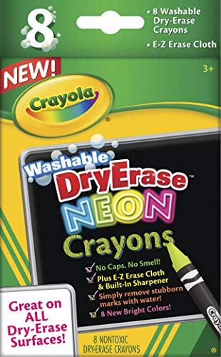 Crayola Dry Erase Crayons (Crayola; Dry-Erase Neon Crayons; Art Tools; 8 Count; Washable; Perfect for Classroom Art Activities; Includes Sharpener and Erase)