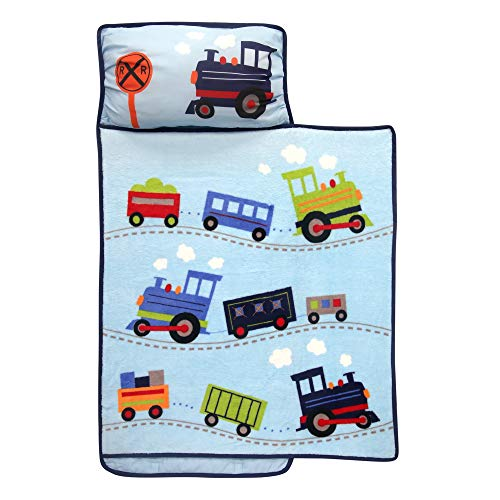 Lambs & Ivy Blue Train Toddler Nap Mat