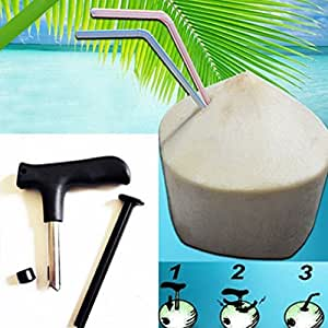 Angelwing Coconut Opener Kit Punch Driller Straw Cutter Drill Hole Maker Tool