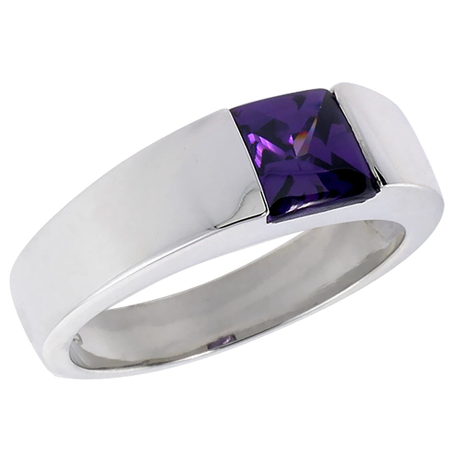 Mens Sterling Silver Amethyst CZ Solitaire Ring Princess Cut 2 ct