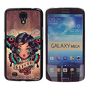 Paccase / SLIM PC / Aliminium Casa Carcasa Funda Case Cover para - Rebirth Quote Girl Tattoo Ink Art Body Butterfly - Samsung Galaxy Mega 6.3 I9200 SGH-i527