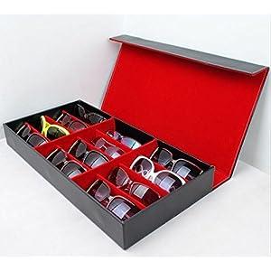 Oalas 12Pcs Eyewear Sunglass Jewelry Watches Display Storage Case Stand(Red)
