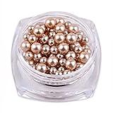 Nail Art,Putars Fashion 12 Colors Pearl 10g/Box Nail Glitter Nail Beads Do Not Fade Pearl Nail Decorat ers (Khaki)