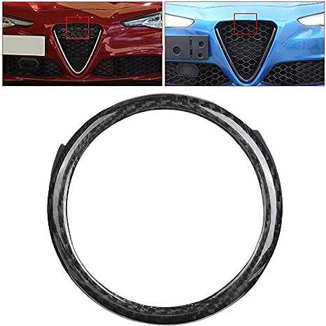 LQNB Griglia Posteriore nel Fibra di Carbonio ABS Griglia Anteriore Logo Decorativo Cornice Nera per Alfa Romeo Giulia 2017-2020