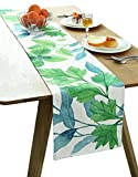 BOXAN Classic Durable White Linen Burlap/Table Runner Garden with Green Leaves for Spring Summer Wedding Party Birthday Party Home Office Decor, Tropical Hawaii Luau Party Decor, 12x72 inch