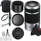 Sony E 55-210mm F4.5-6.3 OSS Lens for Sony E-Mount Cameras (Silver) + Pixi-Basic Accessory Bundle