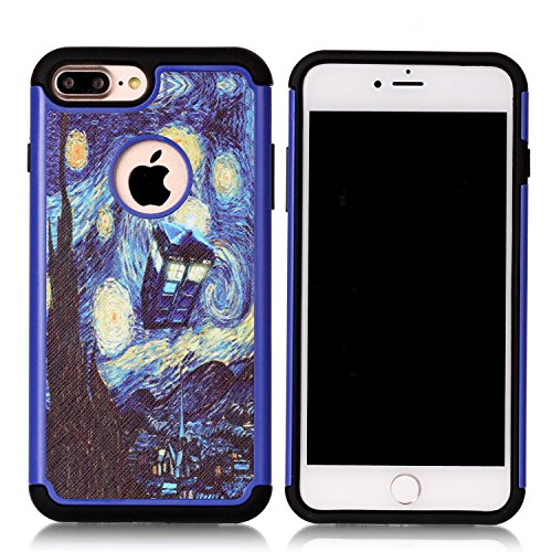- Iphone 7 Plus Case, Van Gogh Starry Night Tardis Pattern Shock-Absorption Hard PC and Inner Silicone Hybrid Dual Layer Armor Defender Protective Case Cover for Apple iphone 7 Plus