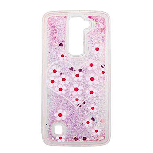 Trumpshop Smartphone Carcasa Funda Protección para LG K7 / LG K8 + Búho + TPU 3D Liquido Dinámica Sparkle Estrellas Quicksand Resistente a arañazos Caja Protectora Amor de la Flor