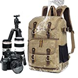 Full-size DSLR Camera Backpack Case for Photography and Laptop Travel Use w/Accessory Storage , Tripod Holder & Weatherproof Rain canvas Cover for Sony a6000 , Canon EOS T6 , Nikon D5500 (Brown)