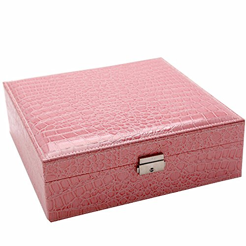 Soaptree Two Layers Jewelry Case Pink Lockable Mirror Earring Ring Necklace Bracelet Watch Storage Organizer Box(A-Pink) (Ring Bearer Watch)