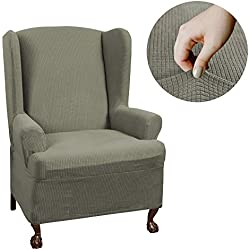 MAYTEX Reeves Stretch 1 - Piece T – Cushion Wingback Chair with Arms Furniture Cover Slipcover, Dark Sage Green