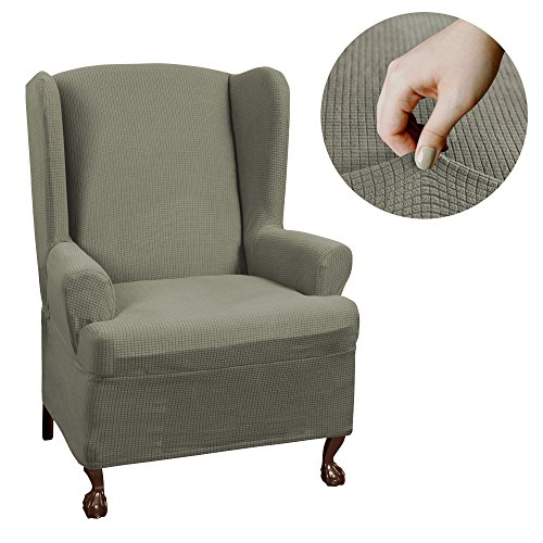 Maytex Reeves Stretch 1 - Piece T - Cushion Wingback Chair with Arms Furniture Cover Slipcover, Dark Sage Green