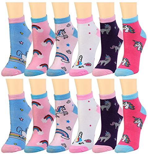 12-Pack Women's Ankle Socks Assorted Colors Size 9-11