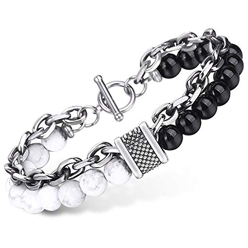 Trendsmax Double Stack Natural Stone Beads Bracelet for Men Stainless Steel Cable Link Chain Boys Bracelets
