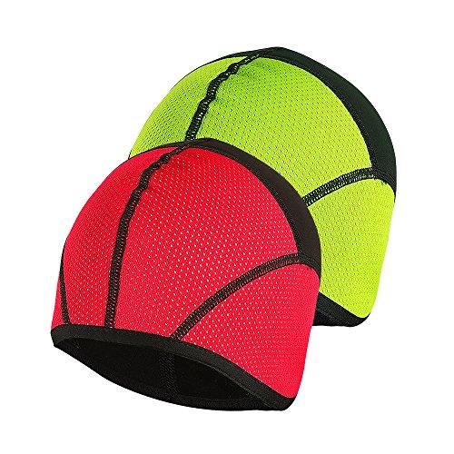 al Fleece Skull Cap Helmet Linner Cycling Running Windproof PT02 Red Green 2 PCS Size M ()