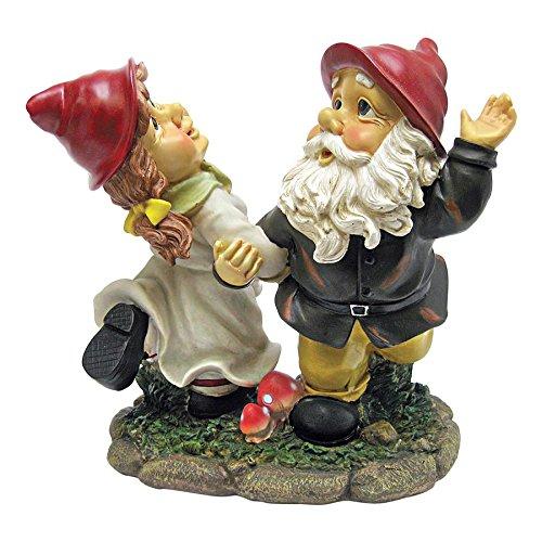 Gnome Sculpted Garden (Garden Gnome Statue - Dancing Duo Garden Gnomes - Lawn Gnome)
