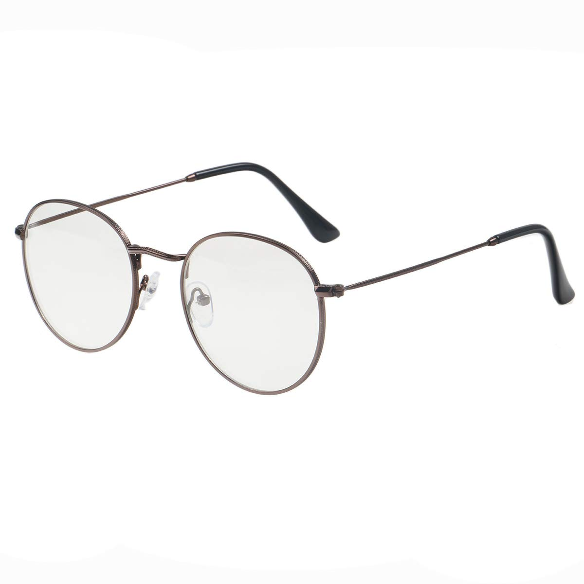 Simvey Classic Vintage Round Circle Metal Glasses Frame Clear Lens 7001