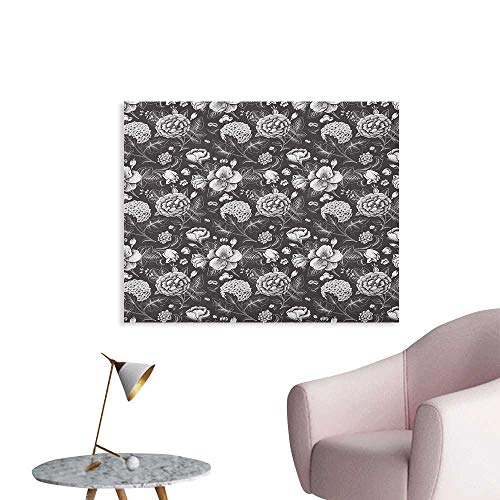 Anzhutwelve Grey and White Mural Decoration Flourishing Blossoms Artistic Florets Bridal Bouquet Anniversary Theme Art Poster Dark Taupe White W32 -