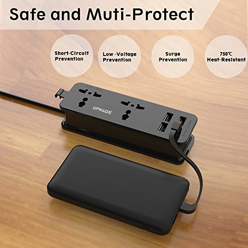 Upwade 2 Outlet Travel Power Strip Surge Protector With 4