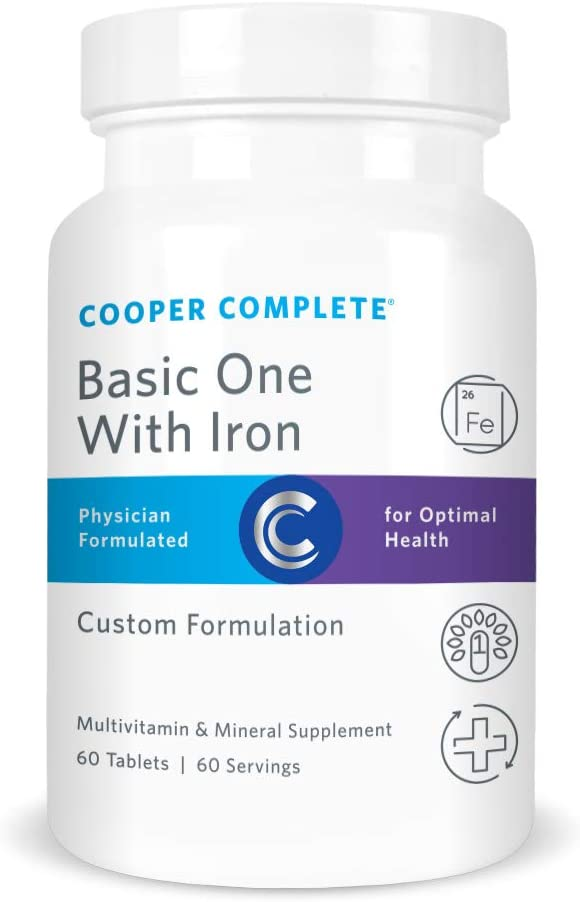 Cooper Complete – Basic One Multivitamin with Iron – Daily Multivitamin and Mineral Supplement with Iron – 60 Day Supply