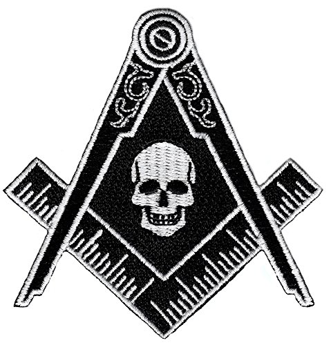 Masonic Black Skull Patch Iron On Embroidered Freemason Mason G Square Compass