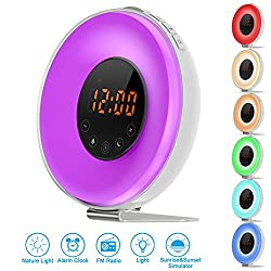 JR.WHITE Wake Up Light Alarm Clock, Sunrise & Sunset Simulation Digital Alarm with 6 Nature Sound, FM Radio, Touch Control, 7 Color Night Light, 10 Mode Brightness, USB Charger for Heavy Sleeper