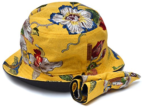 Reversible Yellow Floral and Black Bucket Cap Hat from Skyed Apparel (River Twill Vest)