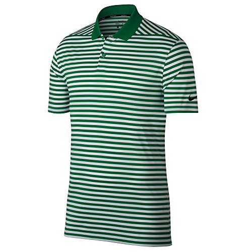 Nike New DRI FIT Victory Stripe Golf Polo Classic Green/White/Black Medium