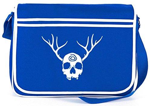 Shirtstreet24, TD - Totenkopf mit Geweih, Retro Messenger Bag Kuriertasche Umhängetasche Royal Blau