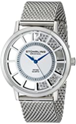 """Stuhrling Original Men's 388M.01 """"Winchester"""" Silver-Tone Stainless Steel Watch with Mesh Band"""