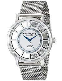 Stuhrling Original Men's 388M.01 Classic Winchester Del Sol Elite Swiss Quartz Skeleton Ultra Slim Stainless Steel Mesh Bracelet Watch