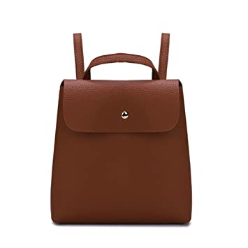 333f3784d3c Amazon.com  Mini Leather Backpack for Women, Cowhide Genuine Leather Pure  Color Top Handle Bags Double Shoulder Bag (Brown)  Beauty