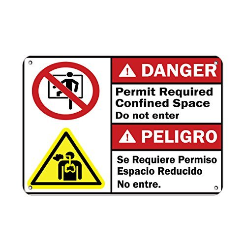 Danger Permit Required Confined Space Do Not Enter Aluminum Metal Sign 12 X 18 Inch
