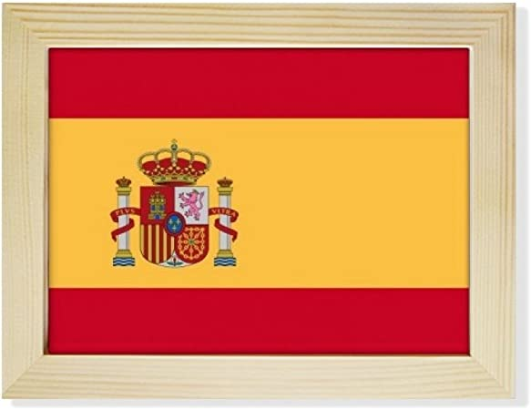 DIYthinker España Nacional a la Bandera Europa País de Escritorio de Madera Marco de la Foto del Arte Pintura 6X8 Pulgadas: Amazon.es: Hogar