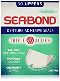 Sea Bond Secure Denture Adhesive Seals, Fresh Mint Uppers, 30 Count