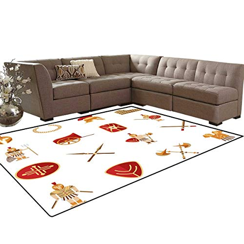 Toga Party Bath Mats Carpet Classic Gladiators Greek Antiquity Warriors Icons Set in Graphic Style Girls Rooms Kids Rooms Nursery Decor Mats 5'x8' Orange Brown Red ()