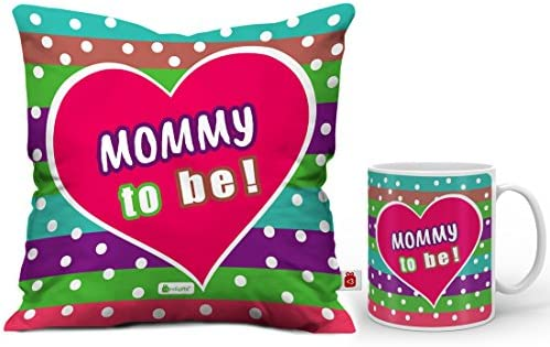 Buy Indigifts Mommy To Be Colorful Coffee Mug And Cushion Cover