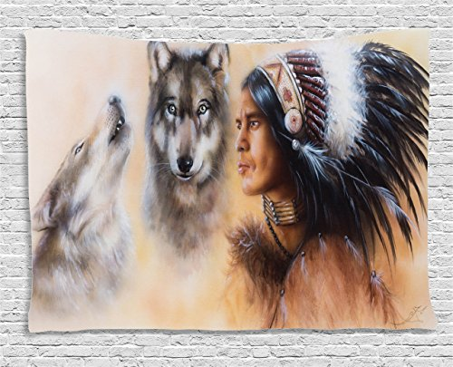 (Ambesonne Colorful Tapestry, Blur Mystic Painting of Young Native Man Feather with Wolves, Wide Wall Hanging for Bedroom Living Room Dorm, 60