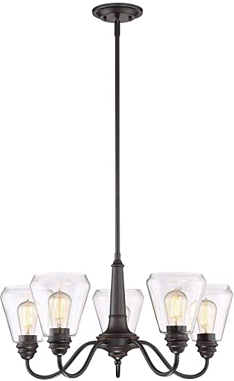 Altair Lighting Vintage Style Chandelier with 5 Reversible Arms and 5 Vintage Style Dimmable LED Amber Light Bulbs in Satin Bronze Finish with Clear Glass Shades