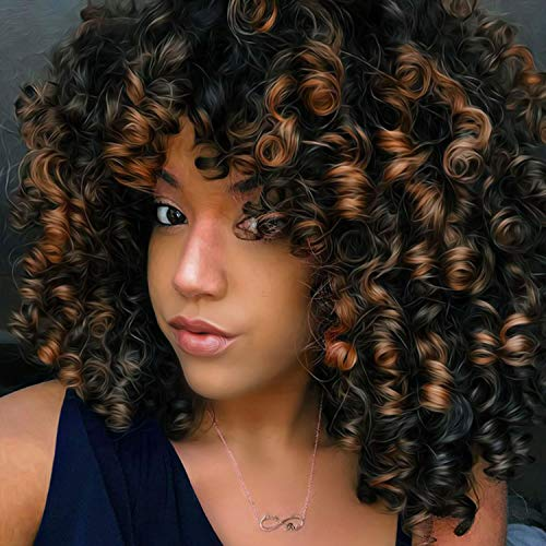 Curly Wigs Mix Black and Brown Color New Fashion Curly Hair Wig Ombre Golden Brown Afro Kinky Curly Wig Heart Retardant Fiber Synthetic Wig Feel Same with Human Hair Extensions Cosplay