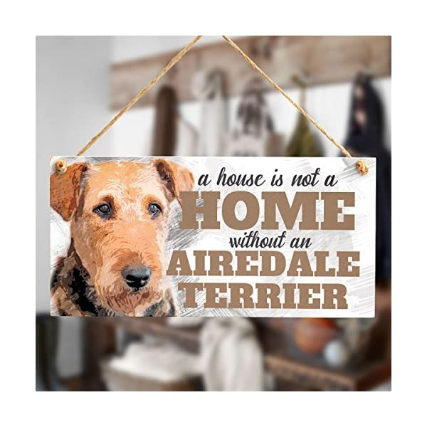 "Meijiafei A House is Not A Home Without an Airedale Terrier - Cute Airedale Terrier Dog Sign/Plaque for Airedale Terrier Gifts 10""x5"" 2"