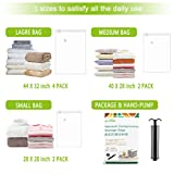 U-miss Premium Vacuum Storage Bags (85% More Storage Than Other Brands) Free Hand Pump For Travel! (8 Pack)