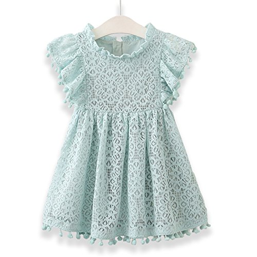 Doris Batchelor Elegant Summer Baby Girls Tassel Hollow Out Children Lace Dress for Girls Birthday Party Dress Kids Costume Green 7