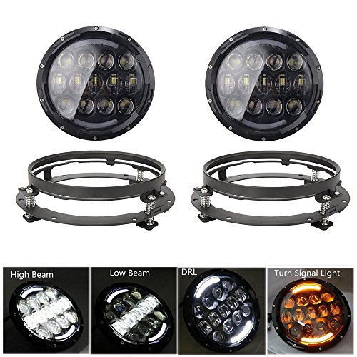 SKTYANTS 2 PCS 105W 7 Inch Round LED Headlight with White/amber Turn Signal DRL with a pair 7 inch bracket Ring Mounting for Jeep Wrangler Jk Tj Harley (Amber White Ring)