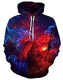 UNIFACO Galaxy Hoodie Mens Graphic 3D Print Pullover Cool Long Sleeve Black Hoody Sweatshirts Velvet L