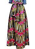 LD Womens Sexy Africa Print Bow Bandage Loose Big Hem Dashiki Maxi Skirts 13 XL