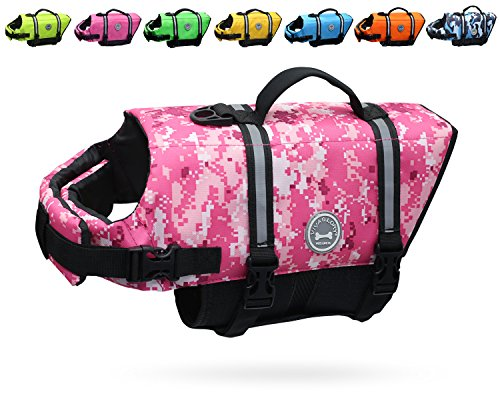 Pink Camo Pet Dog - Vivaglory Dog Life Jacket, Camo Pink, M